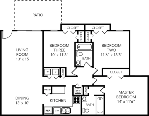 The Garland 3 Bed 2 Bath 1200 Sq Ft Bellagio
